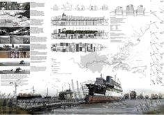 Presentation board for architectural design by Anthony Lau Landscape Architecture Drawing, Architecture Panel, Architecture Graphics, Architecture Design, Floating Architecture, Architecture Presentation Board, Presentation Layout, Presentation Boards, Project Presentation