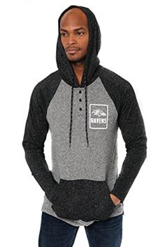 NFL Men's Henley Raglan Team Color Pullover Hoodie Sweatshirt  http://allstarsportsfan.com/product/nfl-mens-henley-raglan-team-color-pullover-hoodie-sweatshirt/?attribute_pa_teamname=baltimore-ravens&attribute_pa_size=large  Officially Licensed By The NFL (National Football League) Perfect for running, jogging, sports, exercise, lounging around the house, or everyday use High quality screen print graphics of team logo and name