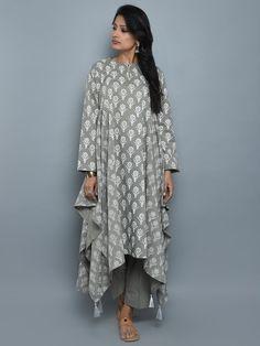 Grey Cotton Block Printed Asymmetrical Kurta and Pants - Set of 2