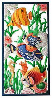 "TROPICAL HOME DECOR -  Large Tropical Fish Panel - 17"" x 35""- Hand Painted Metal Fish Design  - Tropic Décor Art - More at www.Tropical-Fish-Decor.com"