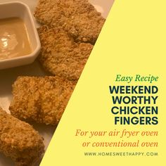 These chicken fingers are SO easy to make with your air fryer oven or conventional oven! #chickenfingers #airfryerrecipe #airfryeroven #homemadechickenfingers Homemade Chicken Fingers, Chicken Finger Recipes, Perfect Grilled Cheese, Rib Meat, Cracked Egg, Crispy Chicken, Honey Mustard, Air Fryer Recipes