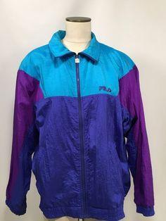 Fila Sport Vintage Track Jacket Men's Size 42 Retro 90's Blue Purple Long Sleeve #Fila #TracksuitsSweats