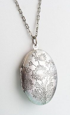 Silver Locket Necklace Oval Silver Etched