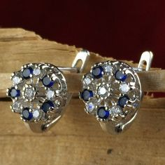 Italian 925 Silver Royal Blue Sapphire Zircon Halo European Lock Round Earrings RD046. Starting at $1