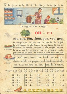 French Classic, French Vintage, Vintage School, French Lessons, Teaching French, Vintage Children's Books, Oracle Cards, Learn French, Junk Journal