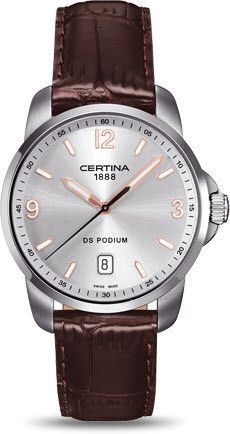 Certina Watch DS Podium Quartz #bezel-fixed #bracelet-strap-leather #brand-certina #case-material-steel #case-width-38mm #classic #date-yes #delivery-timescale-7-10-days #dial-colour-silver #gender-mens #movement-quartz-battery #official-stockist-for-certina-watches #packaging-certina-watch-packaging #style-dress #subcat-ds-podium #supplier-model-no-c001-410-16-037-01 #warranty-certina-official-2-year-guarantee #water-resistant-100m
