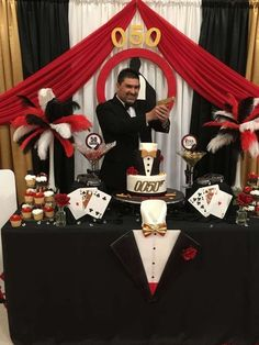 Your Husband or Father is no less than James Bond? Then why not throw him a James Bond Theme Birthday Party! Check out the images below to get some inspiration: Theme: James Bond Occasion: Birthday… Fète Casino, Casino Party Games, Casino Party Decorations, Casino Night Party, Casino Theme Parties, Birthday Party Themes, Vegas Party, 50th Birthday, James Bond Party