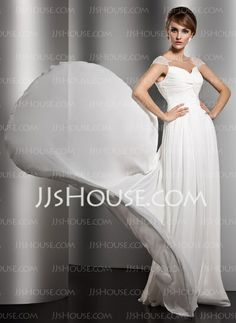 Evening Dresses - $125.99 - A-Line/Princess V-neck Court Train Chiffon  Charmeuse Evening Dresses With Ruffle  Beading (017005601) http://jjshouse.com/A-line-Princess-V-neck-Court-Train-Chiffon-Charmeuse-Evening-Dresses-With-Ruffle-Beading-017005601-g5601