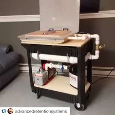 Damn, that's a sweet setup. with ・・・ Back in business. Custom built stand alone vacuum cart in action with a crazy pull down! former is about to get put to the ulti Kydex Holster, Vacuum Forming, Carbon Fiber, Industrial Design, Action, Desk, Shapes, Business, Building
