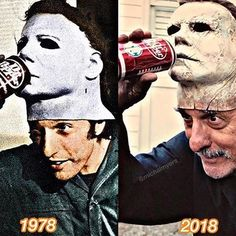 Halloween Nick Castle in 78 and 18 - he played Michael Myers in both films - Horror Movie Characters, Slasher Movies, Horror Movies, Jason Voorhees, Halloween Film, Halloween 2018, Arte Horror, Horror Art, Horror Icons