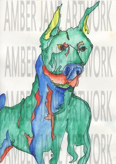 pop art, doberman, watercolour, continuous line, blind drawing, print, dog art, illustration, instant download, print, A4, JPEG by AmberJaneArtwork on Etsy