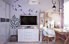 wandgestaltung jugendzimmer m dchen tapete abstrakte lila linien rooms pinterest baby. Black Bedroom Furniture Sets. Home Design Ideas
