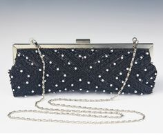 Black Hand Beaded Evening Bag clutch women accessories shoulder gala evening