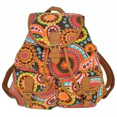 Beautiful Artsy Boho-Style Multi-Pocket Leather Canvas Quality Backpack 2 Colors
