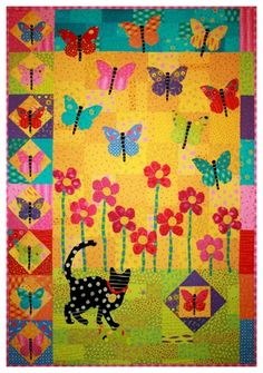 Butterfly  and Kitty Cat Quilt Pattern -  xx
