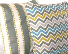Blue Grey Pillow Covers - Chevron and Stripes, Optional Zippers - TWO 16x16 inch Decorative Throw Cushion Covers - Blue Yellow Grey