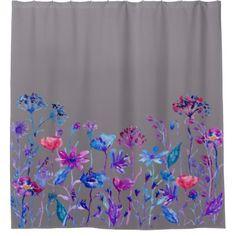 #shower - #Watercolor Purple Field Flowers Shower Curtain
