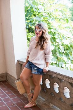 Summer sweater outfit - click through for more on this body positive summer outfit! | summer outfit idea | sweater with shorts outfit | curvy fashion | petite fashion | body confidence | self love | blogger style | fashion blogger | blogger outfit | real girl fashion | everyday fashion