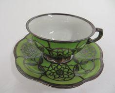 Moccatasse Mokkatasse Hutschenreuther Hohenberg grün/ Silberporzellan Handarbeit   eBay