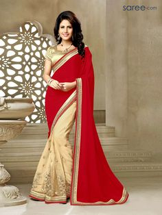 7a6dac1fb9595 RED AND BEIGE NET SAREE WITH ZARI EMBROIDERY WORK Georgette Sarees