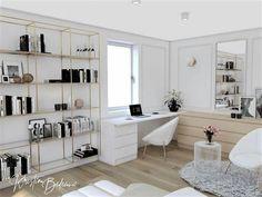 Hosťovská spojená s pracovňou, vyskladaná z pôvodného nábytku, doplnená o zlatú knižnicu. V budúcnosti  ju nahradí detská izba.  #dizajner… Shelving, Study, Home Decor, Homemade Home Decor, Shelves, Studio, Shelf, Open Shelving, Learning
