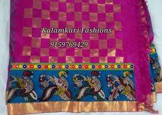 pen kalamkari  border work in silk saree