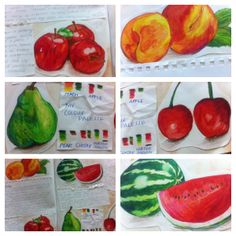 A gorgeous presentation page of secondary source drawings from Rachel. I love your confident use of colour here.