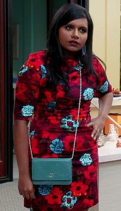 Mindy's red and blue floral print dress on The Mindy Project.  Outfit Details: http://wornontv.net/21120/ #TheMindyProject