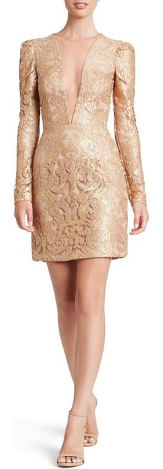 claudia plunging illusion sequin lace minidress by Dress the Population. Glimmering sequins illuminate the curve-hugging design of a beguiling minidress, designed to look like it's showing off a bit more than it actually is. Style Name: Dress The Population Claudia Plunging Illusion Sequin Lace Minidress (Nor... #dressthepopulation #dresses