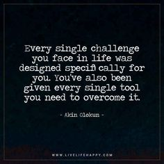 Motivational Quote: Every single challenge you face in life was designed specifically for you. You've also been given every single tool you need to overcome it. - Akin Olokun
