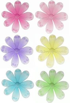 "6"" Small Swirl Daisy Flowers Decor 6 piece Flower Set (Pink, Green, Purple, Blue, Yellow and Dark Pink) - hanging nylon nursery bedroom girls room ceiling wall decor, wedding birthday party baby bridal shower $23.99"