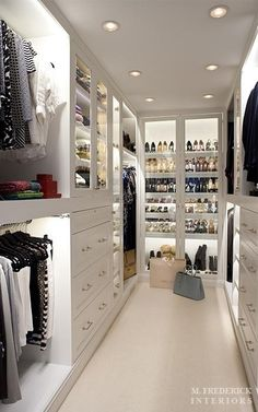 Walk-in Closet.What a clean chic! Walk-in Closet.What a clean chic! Walk-in closet with dust-proof glass doors. Container Store Closet, Closet Vanity, Closet Mirror, Closet Shelves, Closet Doors, Closet Chandelier, Bedroom Shelves, Desk Shelves, Bathroom Closet