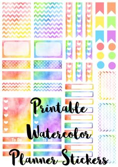 Free printable set of watercolor stickers for your Erin Condren Life Planner! Perfect file for a Cricut or Silhouette machine! To Do Planner, Planner Pages, Life Planner, Happy Planner, Planner Ideas, Planer Organisation, Printable Planner Stickers, Free Printables, Planner Supplies