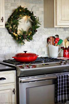 christmas wreath over stove