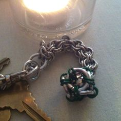 Keychain with Caged ball-bearing (inverted round chainmaille weave)