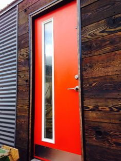 Front Door Big Tiny House Tiny House Exterior Corrugated Metal Siding Timber Frame Cabin