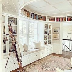 The white lounge of @sweetshadylane is anything but boring with it's curved alcove bookcase and glass book cabinets | would love to while away a few hours reading in the window nook 📖💕 #Regram via @simplysmashingdesigns #interiorstyle #designinspiration #homeinspo #interiorinspiration #designideas #decoratingwithbooks #livingroom #interiorstyling #cozydesign