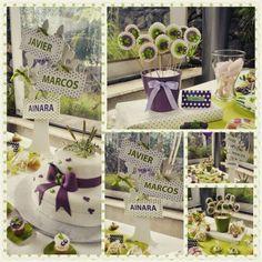 Mesa dulce comunión uva y verde