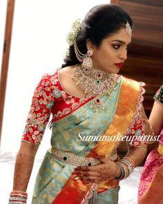 Wedding Saree Blouse Designs, Half Saree Designs, Silk Saree Blouse Designs, Fancy Blouse Designs, South Indian Blouse Designs, Wedding Blouses, Bridal Sarees South Indian, South Indian Bride, Wedding Silk Saree