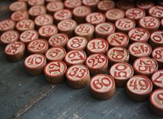 vintage 1930's bingo numbers