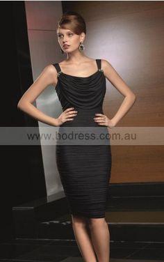 96724c6e6c Sleeveless None Shoulder Straps Knee-length Elastic Woven Satin Formal  Dresses d130604173--Hodress