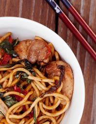 Stir-Fried Noodles with Chicken, Ginger and Basil