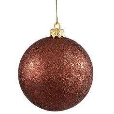 "Mocha Brown Holographic Glitter Shatterproof Christmas Ball Ornament 4"""" (100mm)"