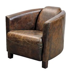 fauteuil club aviateur en cuir marron vintage d coration. Black Bedroom Furniture Sets. Home Design Ideas