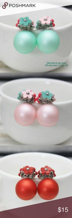 🆕 Double Sided Flower Earrings Pearl Green Brand New Double Sided Flower Earrings Pearl Green 2 for $15 Pink and Red are available as well see listings in my closet. Jewelry Earrings