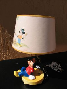 mickey mouse nite lights | Mickey Mouse Disney Table Lamp Vintage Child Nursery Lamp Night Light ...
