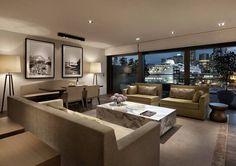 The Living Room in the master Suite at Park Hyatt Sydney. Australian Interior Design, Interior Design Awards, Archi Design, Luxury Accommodation, Philips, Interior And Exterior, Outdoor Furniture Sets, Sydney, Park
