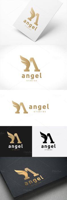 Angel Logo Letter A logo template by Super Pig Shop on @creativemarket