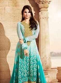 Buy Bollywood Designer Turquoise Anarkali Salwar Kameez $127.33 .  Buy at - bollywood-ankle-length-anarkali.blogspot.co.uk/2014/06/buy-bollywood-designer-turquoise.html