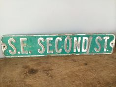 Vintage Metal Street Sign, S.E. Second St, Original, Green and White, Chippy by eddysmercantile on Etsy